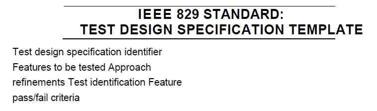 IEEE829 Design test specification template