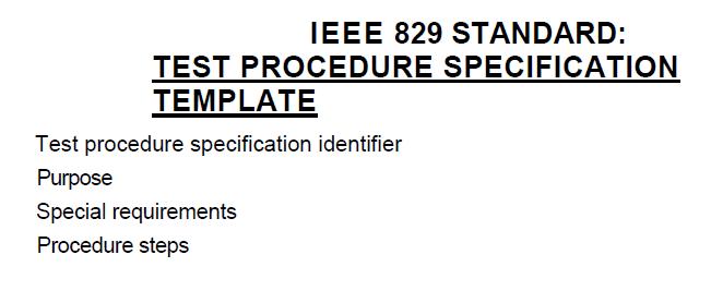 IEEE829 procedure specification template