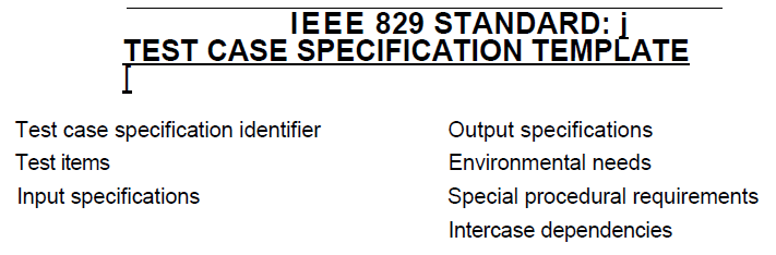IEEE829 test case specification template